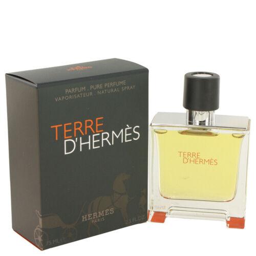 Terre D`hermes by Hermes Pure Perfume Spray For Men 2.5 fl. oz. (75 ml)