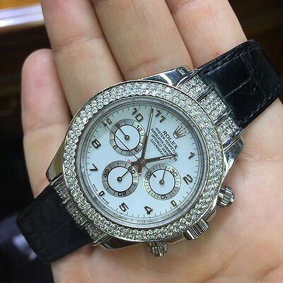 116519 Daytona Rolex Genuine Mens 40mm White Face Diamond Lugs Leather Band