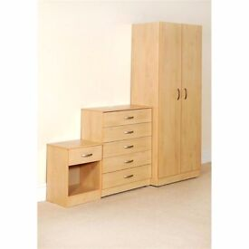 BRAND NEW FREE DELIVERY! Budget Wardrobe set including Chest of Drawers & Bedside - Pre-Assembled