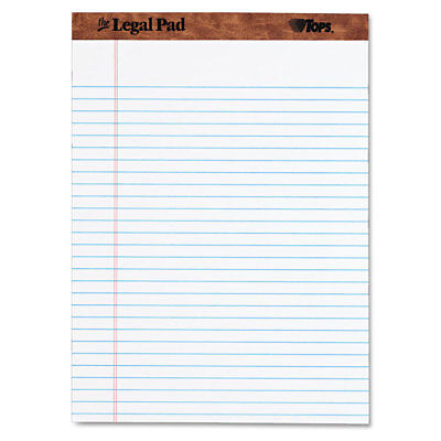 Tops The Legal Pad Ruled Perforated Pads 8 1/2 x 11 3/4 White 50 Sheets (Perforated Legal Pad)