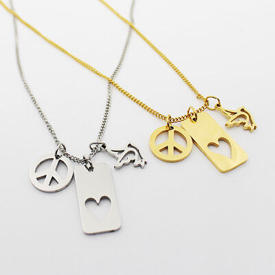 Heart Cut-Out, Peace Dove & Sign, Charm Necklace, Stainless Steel, Gold / Silver