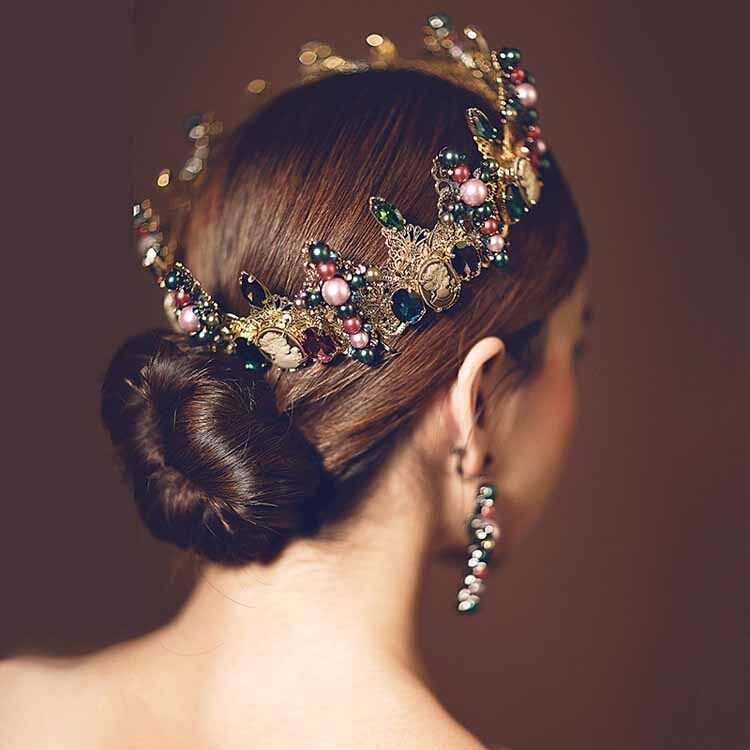 Retro Vintage Bridal Wedding Jewelry Women Girls  Baroque Crown Tiara Headband