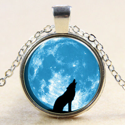 New Vintage lunar Wolf Cabochon Tibetan Silver Glass Chain Pendant Necklace NEW