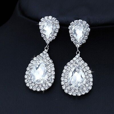 (White Rhinestone Elegant Bridal Wedding Pageant Water Drop Earrings + Gift Box)
