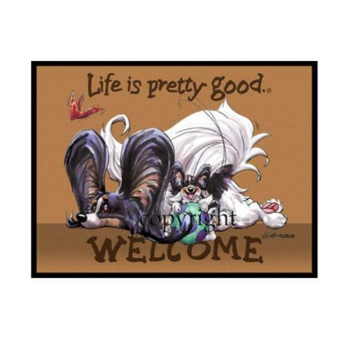 Papillon Dog Breed Life Is Good Cartoon Artist Doormat Floor Door Mat Rug