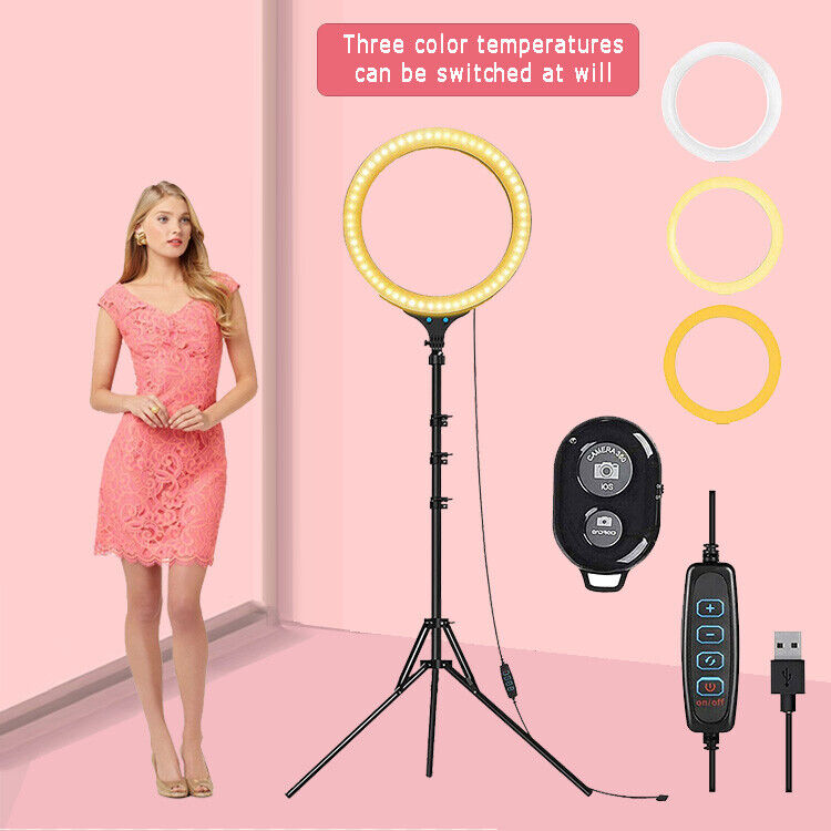"""8"""" LED Ring Light with Tripod Stand & Phone Holder Dimmable Desk makeup Kit us"""