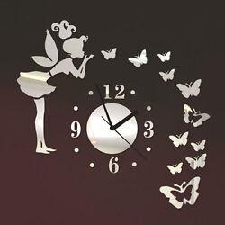 Modern Room Home Art Decor Angel Fairy Butterfly Mirror Vinyl Decal Wall Clock
