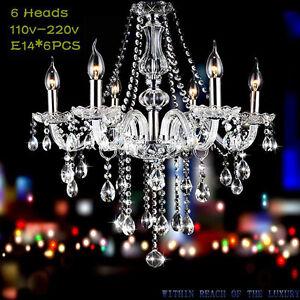 Elegant Modern Ceiling Light Crystal Chandelier Pendant Lighting Fixture 6 Lamp.