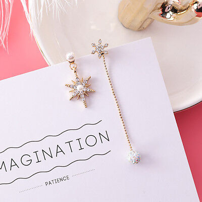 Earrings Cute Eight Stars Asymmetry Long Dangle Shiny Rhinestone