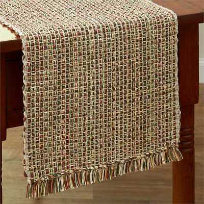 New Primitive Rustic Red Yellow Green Tan SPICE WOVEN TWEED Table Runner 36