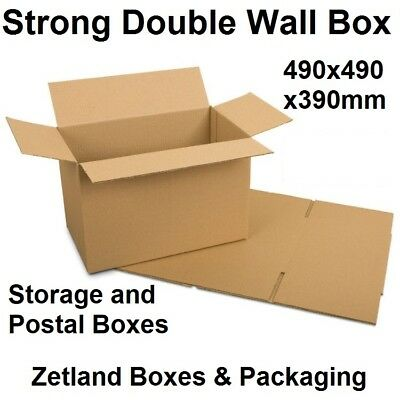 20x Strong Double Wall Cardboard Postal Courier Storage Boxes - 490x490x390mm