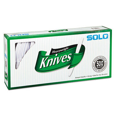 SOLO CUPS Heavyweight Plastic Cutlery Knives White 7 in 500/Carton - White Solo Cups