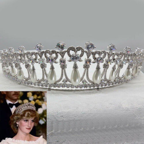 Luxury All CZ Cubic Zirconia Heart Pearl Queen Wedding Pageant Prom Tiara Crown