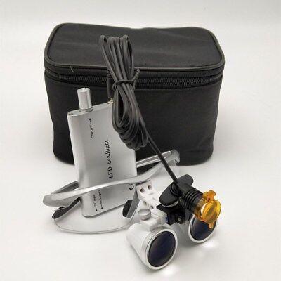 Dental Surgical Led Headlight W Filter 3.5x Binocular Loupes Magnifier Silver