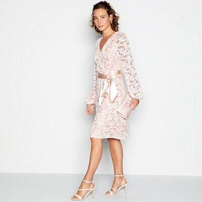 No.1Jenny Packham Light Pink Lace Sequin Length Knee Wrap Dress Size 22 RRP £79