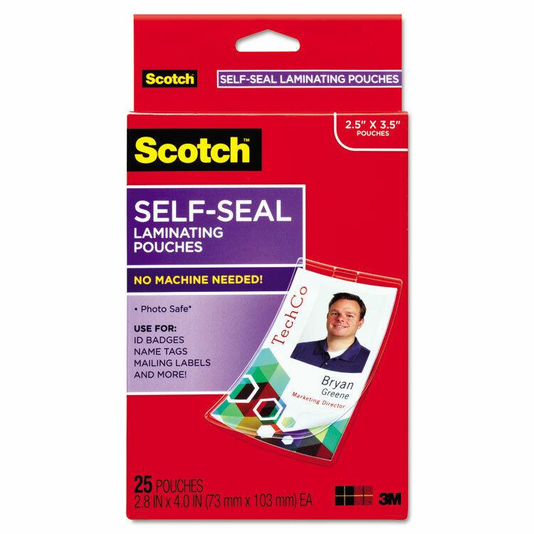Scotch Self-Sealing Laminating Pouches w/Clip 12.5 mil 2 15/16 x 4 1/16 25/Pack
