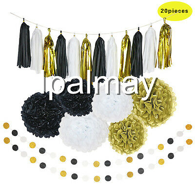 Black White Gold Tissue Paper Tassel Garland Paper Pom Poms for Party Decoration](Black White And Gold Wedding Decorations)