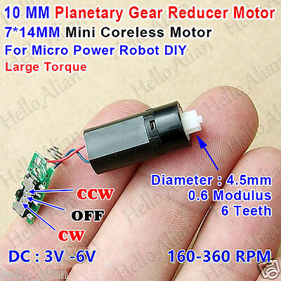 Dc 3v6v 360rpm Mini 7mm Coreless Motor Micro Planetary Gearmotor Car Robot Diy