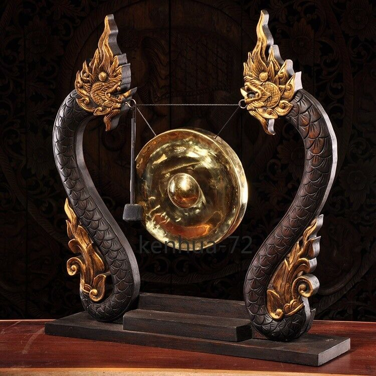 Auspicious gongs, wind bells, Double Dragons, auspicious gongs 双龙福寿锣