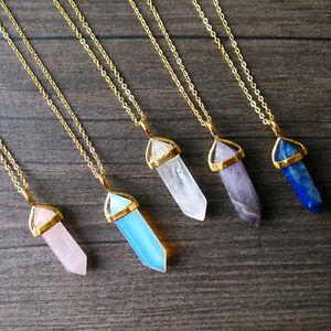 Colgante-Piedra-Preciosa-para-collar-Natural-Cristal-Cuarzo-Punto-De-Chakra