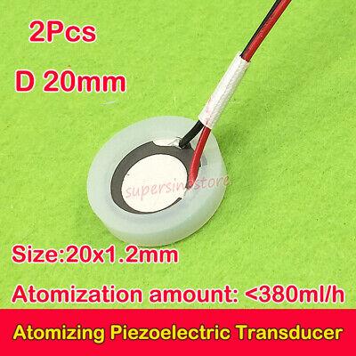 2pcs Ultrasonic Mist Maker D20mm Atomizing Piezoelectric Transducer Ceramic