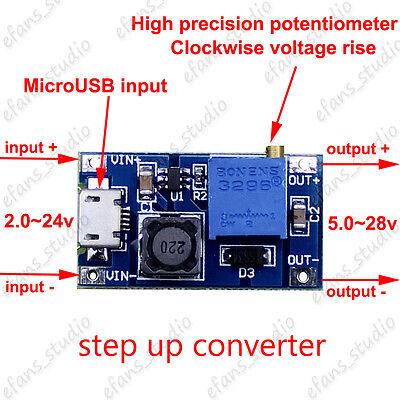 2A DC 2V-24V to 5v-28V 6v 9v 12v 24v Micro USB Boost Step up Adjustable Regler 28v Usb