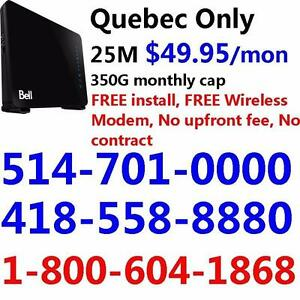 FREE install and FREE Modem 25M internet for only $49.95/month, No contract, unlimited usage