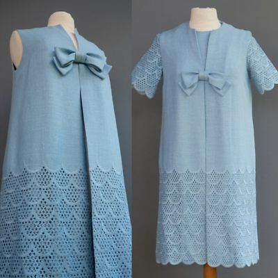 Clothes Of The 60s (VTG 60s Bullocks Talk of the Town Blue 2p Dress Set Coat Vest Crochet Eyelet)