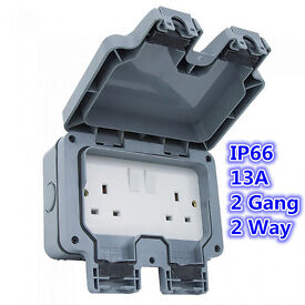 New Waterproof 13A 2 Gang 2 Way Switched Socket Double IP66 Outdoor Impact Resistant