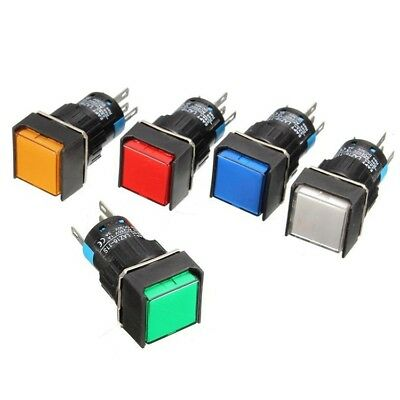 16mm Square Momentary Push Button Switch Self-locking Led Light 5 Pins