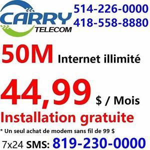 50M internet illimité pour seulement 44,99$ par mois, installation gratuit, essai gratuit de 7 jours, 514-226-0000