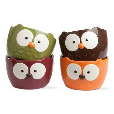 202768 Set/4 Owl Snack Dip Bowls Holiday Halloween Party Red Green Orange Brown