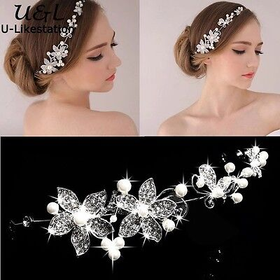 Bridal Hair Accessories Wedding Headpiece Pearl Crystal Flower Vine Tiara W2 (Pearl Tiara)