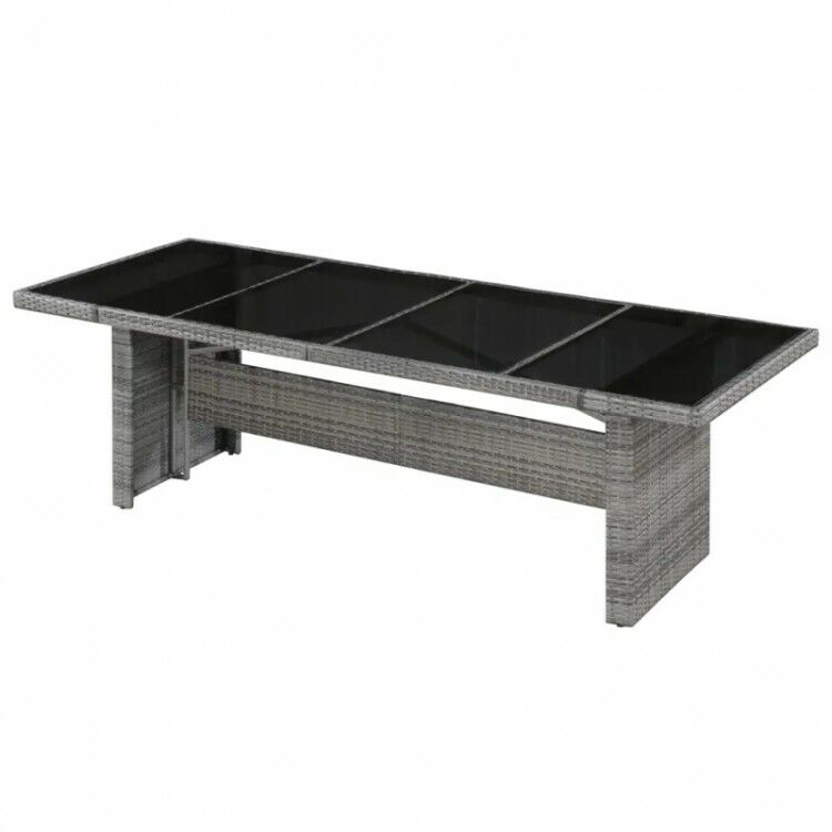 Grey Rattan Dining Table With Glass Top 8 Seater Large Outdoor Garden Furniture