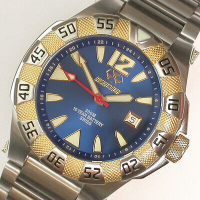 NEW GENTS $450 REACTOR 45MM BLUE DIAL TT GP/SS 300M GAMMA 2 DIVE WATCH #57103