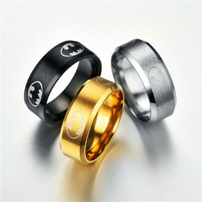 Batman Super Hero Stainless Steel Ring Necklace Pendant Boy Man Fashion Jewelry - Batman Rings