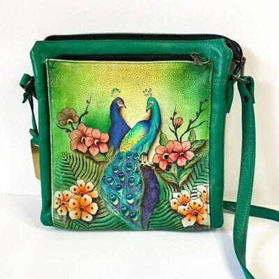 Anuschka Genuine Leather Handbag Passionate Peacocks Emerald Green
