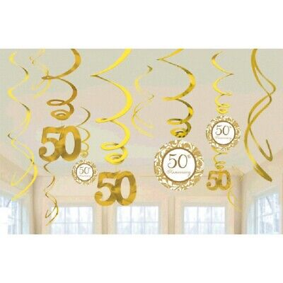 50th Anniversary Gold Hanging Swirls Milestone Party Decorations Party Supplies - 50th Party Decorations
