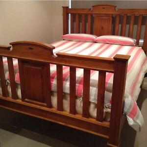 Master timber Queen bed with mattress Plumpton Blacktown Area Preview