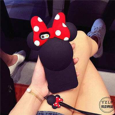 Cartoon Disney Minnie Mouse Silicone Phone Case Cover for iPhone 6 Plus 6S Plus