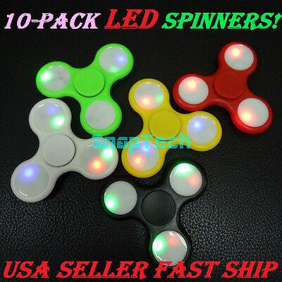 10 Pack LED Fidget Spinner Tri-Spinner Fidget Toy EDC Hand Finger Spinner Desk