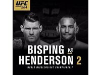 UFC 204 Bisping vs Henderson 6 x Tickets Best View Lower Tier Central Block