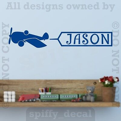 Personalized Monogram AIRPLANE Name Banner Vinyl Wall Decal Decor Custom Nursery