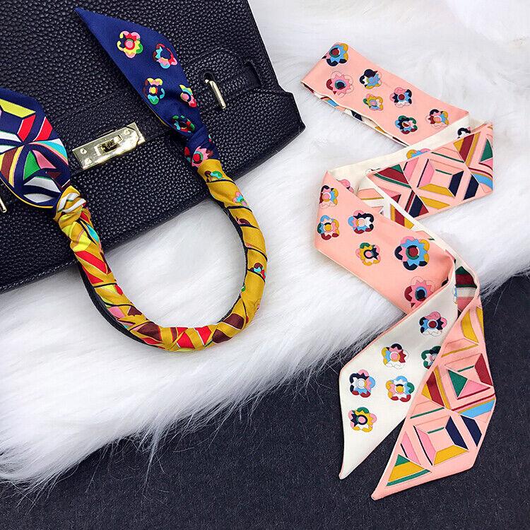 Floral Pattern Pink Silk Twilly Scarf Long Bowtie Handbag pu