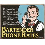 Metalen Retro Bord Bartender Phone Rate (Drinking)