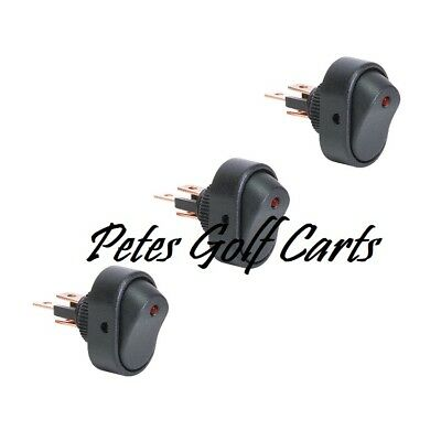 Golf Cart 12 Volt Light Switches On Off Red LED 3 Pack Club Car Ezgo Yamaha for sale  Shipping to India