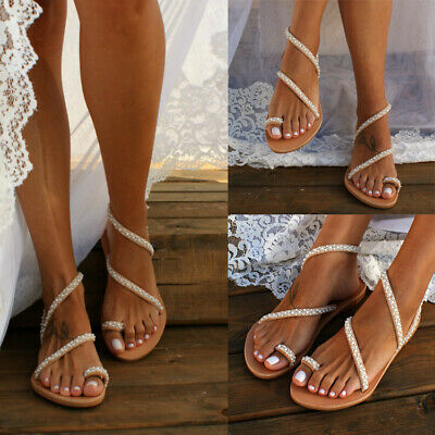 Womens Bohemian Pearl Beaded Flat Sandals Flip Flops Toe Ring Summer Shoes - Sandals Beaded