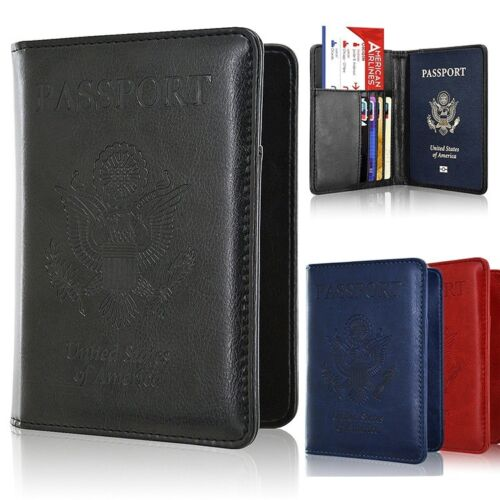 Men/Women's Leather Passport Case Wallet Holder Cover for Se