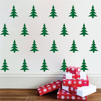 Christmas Trees Wall Decals Wallpaper Christmas Wall And Window Decorations, h58 - Christmas Wallpaper Decorations