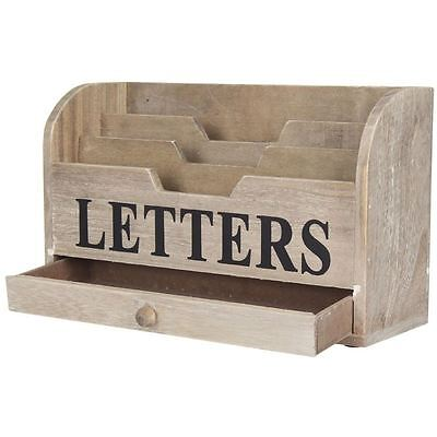 Gisela Graham Natural Distressed Wooden Letters Rack Desk Tidy With Drawer Home